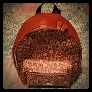 Coach Claret Leather Chain Print Backpack